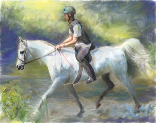 Connie Moses' portrait of trail rider